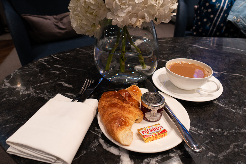 Travel Day; Croissant and Coffee