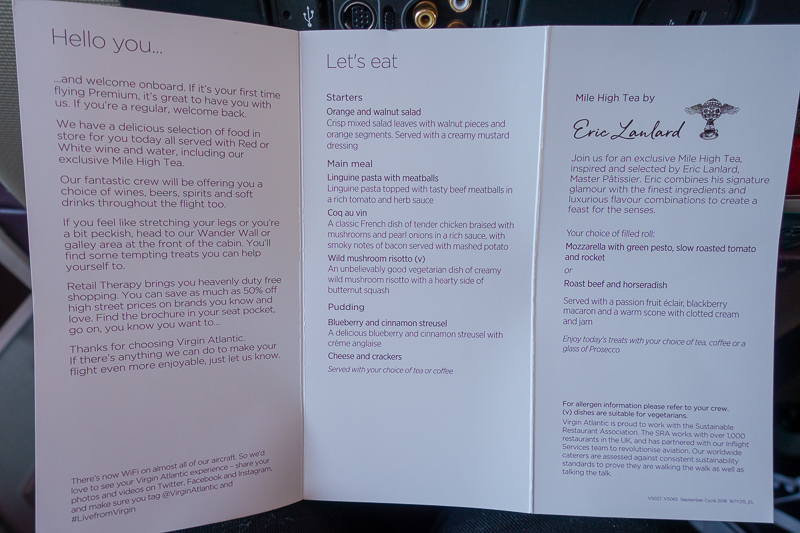 Travel Day; Virgin Atlantic Drinks Menu